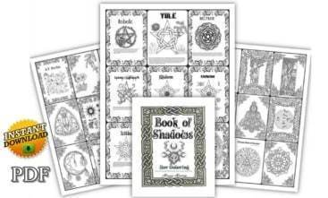 Wiccan Book of Shadows Coloring Book Grimoire Pages[214 Printable pdf]