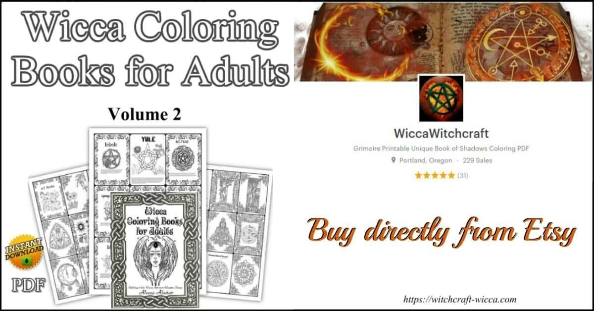 Wicca Coloring Books for Adults Mythology, Goddess, Wiccan Colouring Therapy Anti-stress Relaxation
