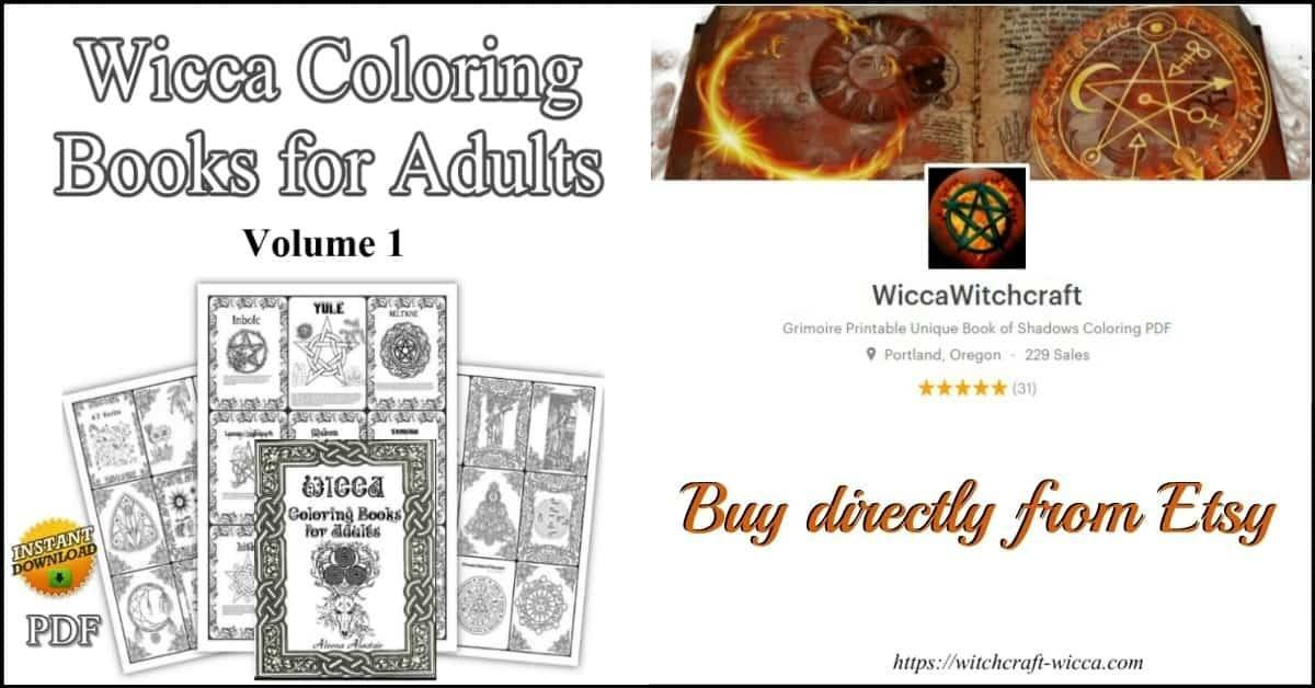 Wicca Coloring Books for Adults Vol 1-Wicca for beginners, learn Wicca, Wicca beginner, books on Wicca, Wiccan gift, Wicca blessings, Wiccan book