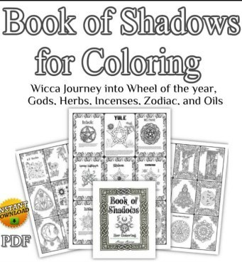Wiccan book of shadows, Wicca coloring book, spell book, magick, pagan symbols, Wiccan religion, magic spells, shadow book, Wiccan Rituals, Wiccan symbols, Wiccan spells