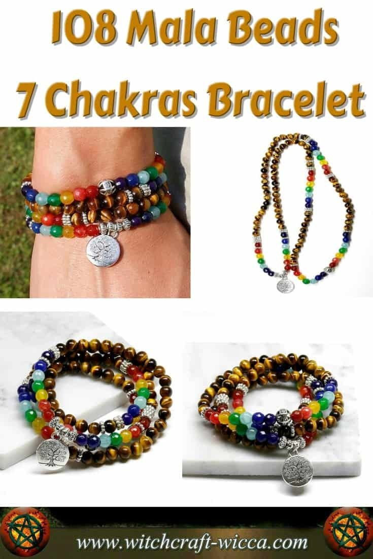 108 Mala Beads 7 Chakra Bracelet / Necklace Gift for You Brings balance and harmony to your life wearing as a 7 chakra necklace or 7 #chakras bracelet this #108 #mala beads jewelry with #Tree of Life #charm.