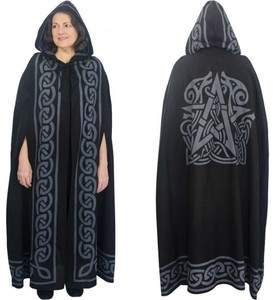Pentacle Black Hooded Cloak This black hooded cloak with gray Celtic knotwork and Pentacle design is perfect for costume or ritual use with tie front.