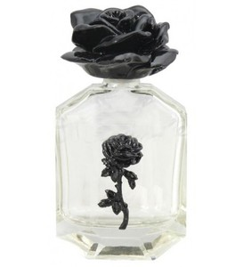 Black Rose Clear Perfume Bottle. A lovely piece for your perfume or other potions, this black rose clear glass bottle is topped by a rose in black and purple.