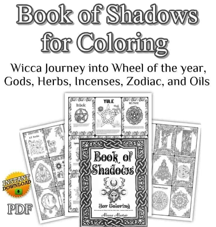 Wicca Coloring Books for Adults, Book of Shadows for coloring pages