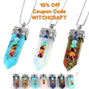 This genuine crystal wand chakra pendant necklace have substantial energetic power