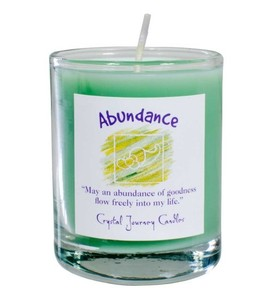 Abundance Soy Glass Votive Spell Candle Use Abundance Soy Herbal Candle to attract prosperity, increase success and obtain material possessions.