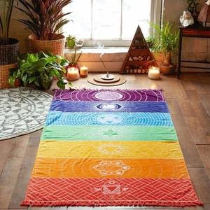 This luxurious rainbow chakra throw has multiple uses from being a floor mat, yoga mat, wall tapestry or art, and decorative blanket!