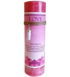 Love Crystal Energy Candle With Rose Quartz Pendant. Love spell pillar candle comes with a Rose Quartz Double Point crystal pendant amulet to extend the spell.