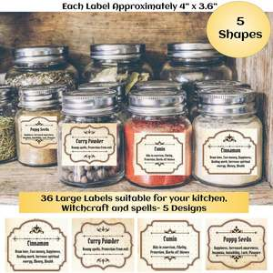 36 Magic Witchcraft Apothecary Labels, Kitchen Witch Printable Labels for Herbs and Spices Used in Spells