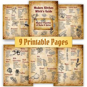 Herbs & Spices Magical Uses, Kitchen Witchery, Kitchen Witch Altar, Wicca Decor, Printable Grimoire Pages